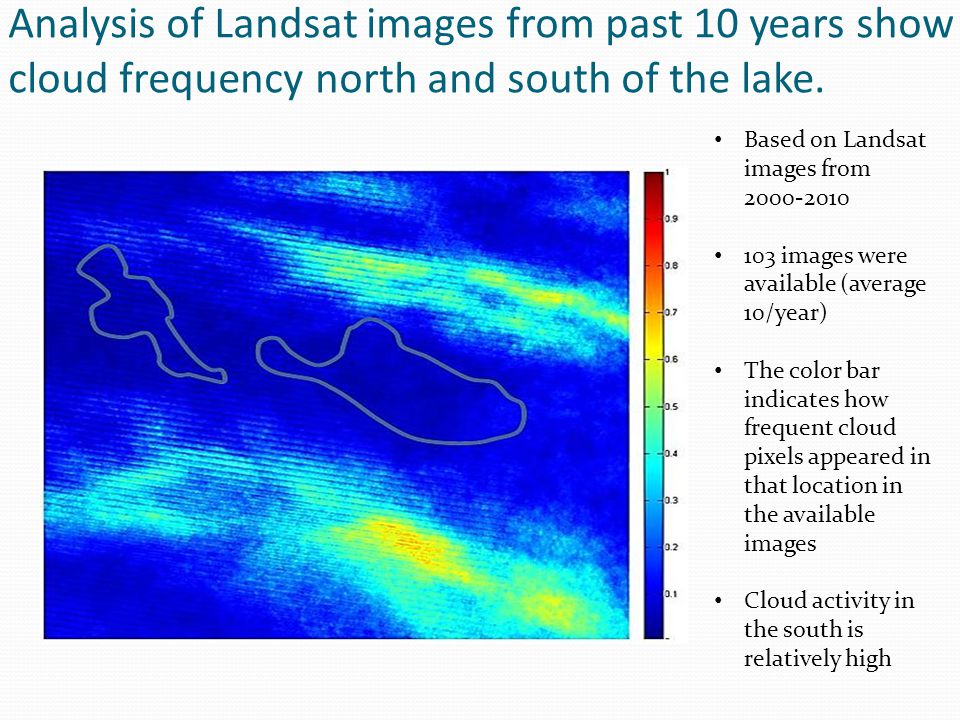 Analysis of Landsat images from past 10 years show cloud frequency north and south of the lake. Based on Landsat images from 2000-2010 103 images were