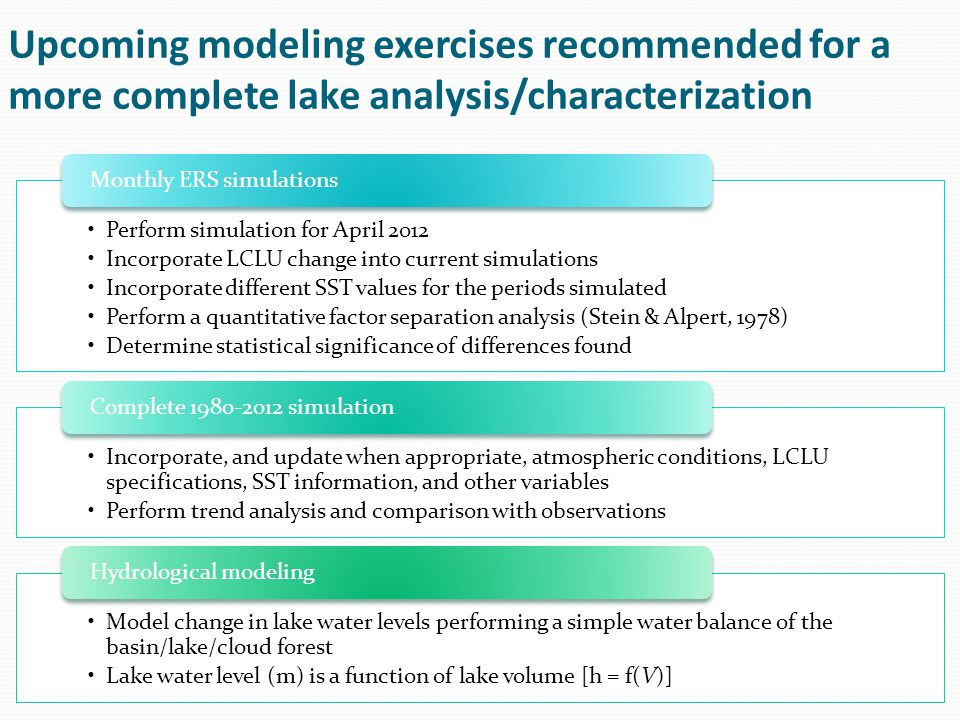 Upcoming modeling exercises recommended for a more complete lake analysis/characterization Perform simulation for April 2012 Incorporate LCLU change into current simulations Incorporate different SST values for the periods simulated Perform a quantitative factor separation analysis (Stein & Alpert, 1978) Determine statistical significance of differences found Monthly ERS simulations Incorporate, and update when appropriate, atmospheric conditions, LCLU specifications, SST information, and other variables Perform trend analysis and comparison with observations Complete 1980-2012 simulation Model change in lake water levels performing a simple water balance of the basin/lake/cloud forest Lake water level (m) is a function of lake volume [h = f(V)] Hydrological modeling