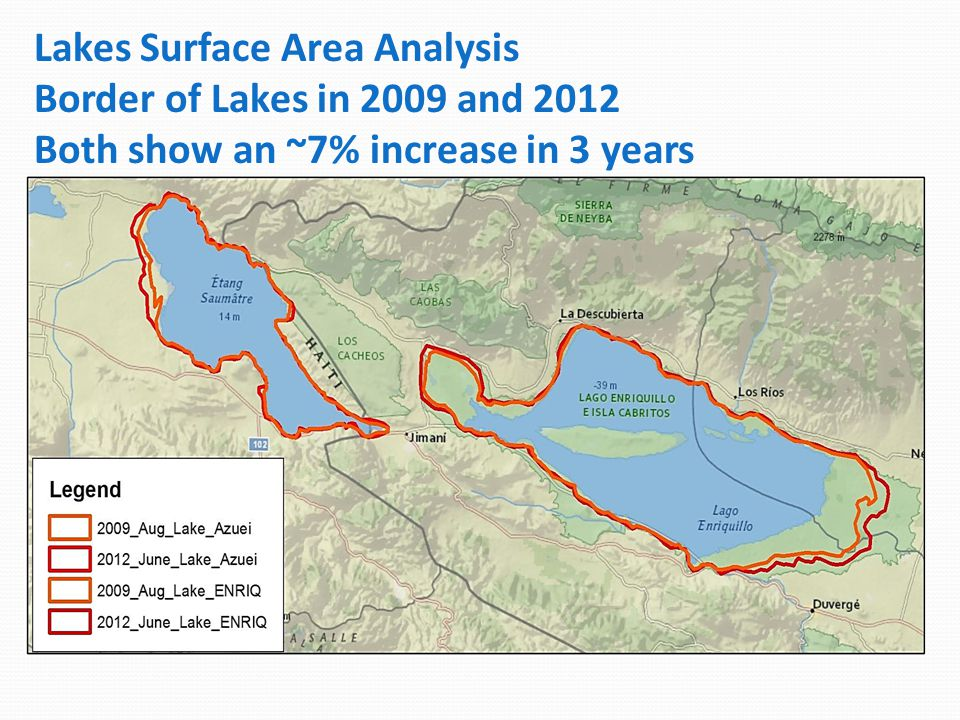 Lakes Surface Area Analysis Border of Lakes in 2009 and 2012 Both show an ~7% increase in 3 years