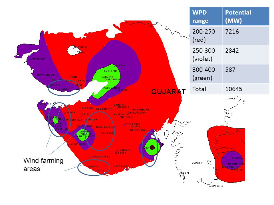 WPD range Potential (MW) 200-250 (red) 7216 250-300 (violet) 2842 300-400 (green) 587 Total10645 Wind farming areas