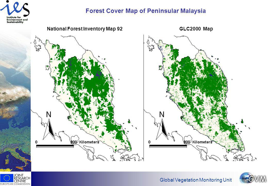 Global Vegetation Monitoring Unit Forest Cover Map of Peninsular Malaysia National Forest Inventory Map 92GLC2000 Map