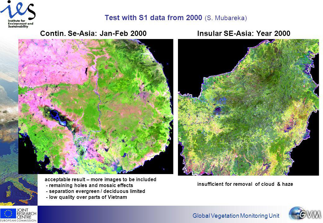 Global Vegetation Monitoring Unit Mosaic generation from S10 data: year 1998 to early 2000 Cont.