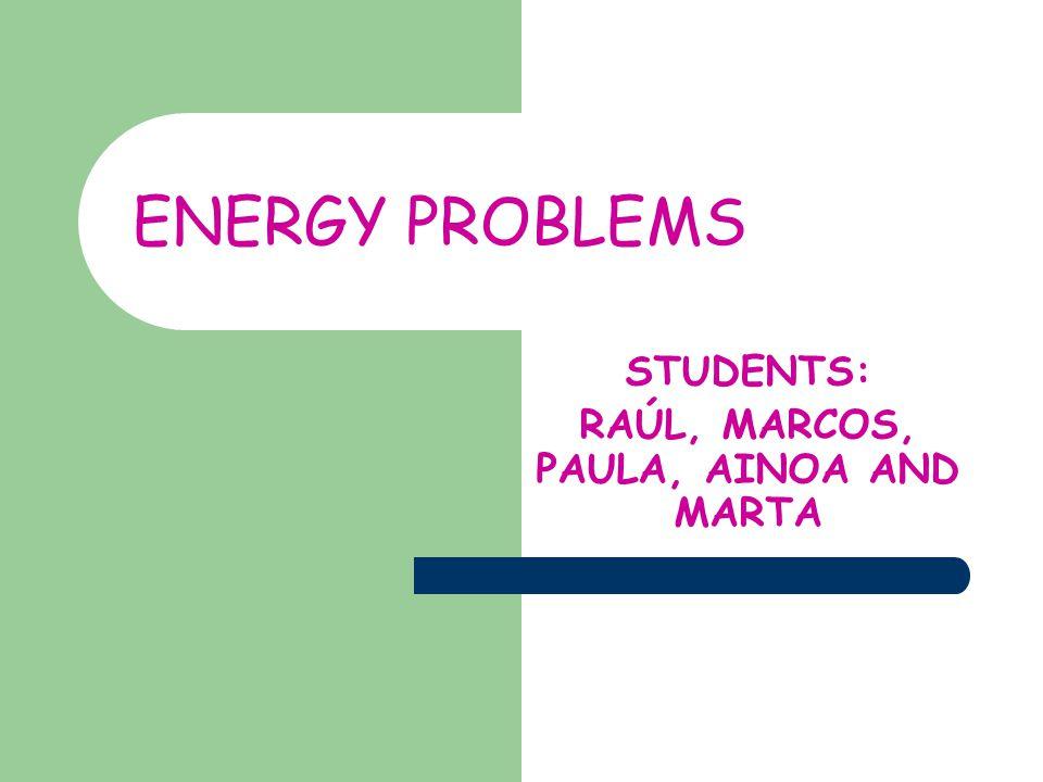 ENERGY PROBLEMS STUDENTS: RAÚL, MARCOS, PAULA, AINOA AND MARTA
