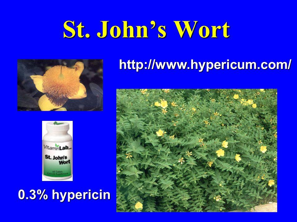 St. Johns Wort http://www.hypericum.com/ 0.3% hypericin