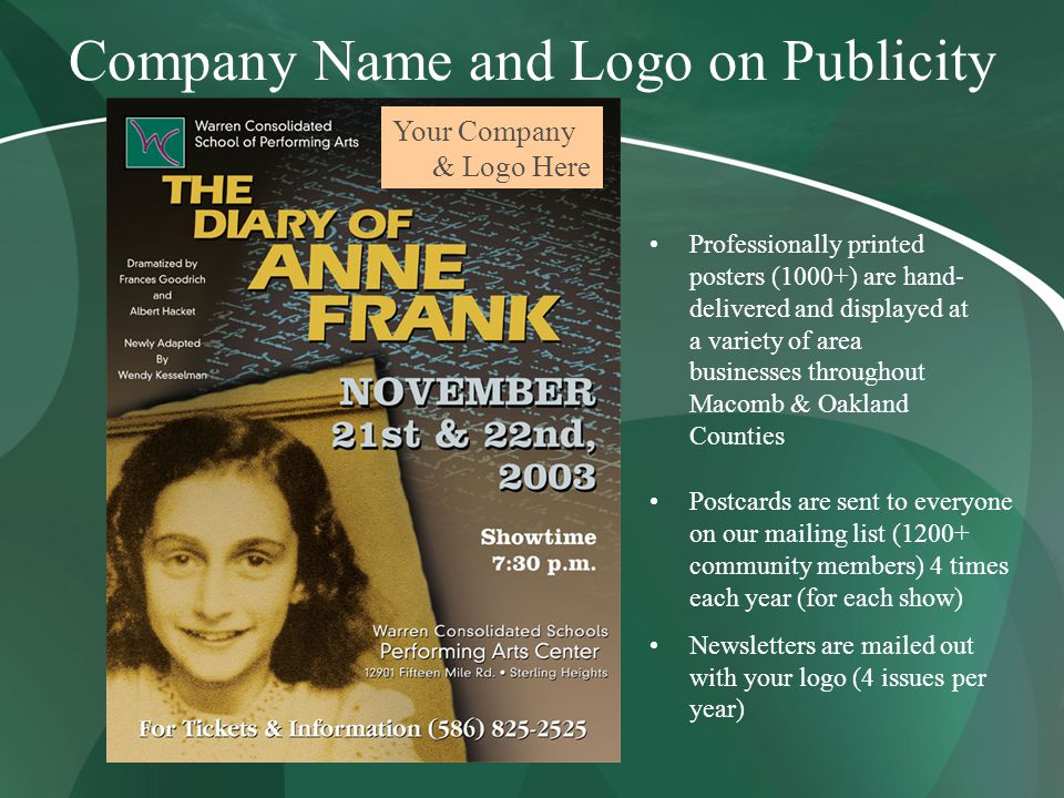 Company Name and Logo on Publicity Your Company & Logo Here Professionally printed posters (1000+) are hand- delivered and displayed at a variety of area businesses throughout Macomb & Oakland Counties Postcards are sent to everyone on our mailing list (1200+ community members) 4 times each year (for each show) Newsletters are mailed out with your logo (4 issues per year)