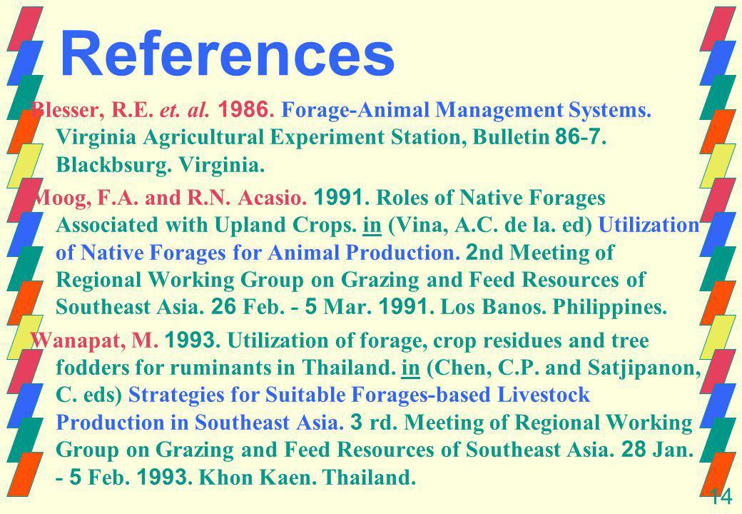 14 References Blesser, R.E. et. al. 1986. Forage-Animal Management Systems.