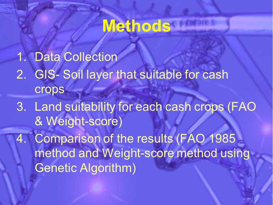 Methods 1.Data Collection 2.GIS- Soil layer that suitable for cash crops 3.Land suitability for each cash crops (FAO & Weight-score) 4.Comparison of the results (FAO 1985 method and Weight-score method using Genetic Algorithm)