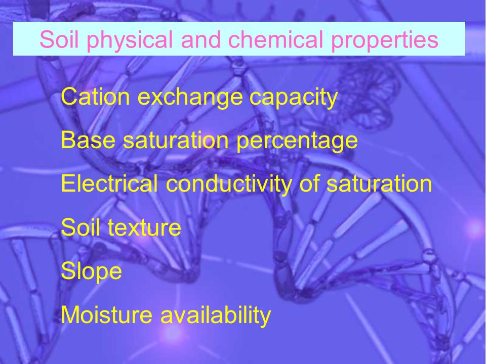 Cation exchange capacity Base saturation percentage Electrical conductivity of saturation Soil texture Slope Moisture availability Soil physical and chemical properties