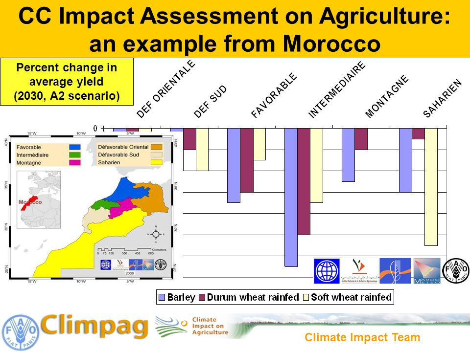 Climate Impact Team Percent change in average yield (2030, A2 scenario) CC Impact Assessment on Agriculture: an example from Morocco