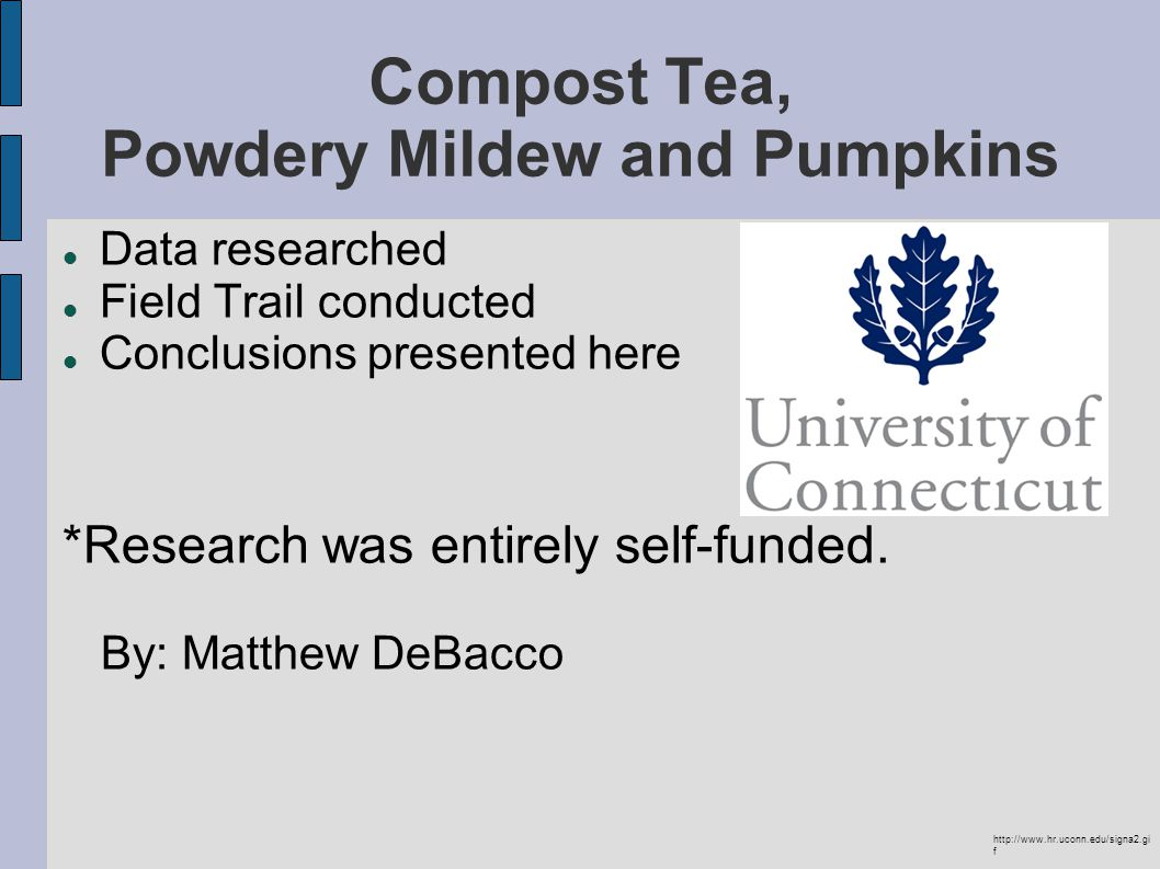 Compost Tea, Powdery Mildew and Pumpkins Data researched Field Trail conducted Conclusions presented here *Research was entirely self-funded.