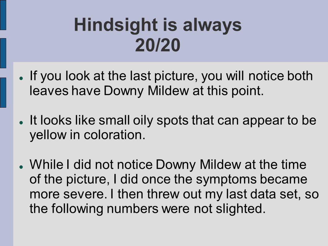 Hindsight is always 20/20 If you look at the last picture, you will notice both leaves have Downy Mildew at this point.