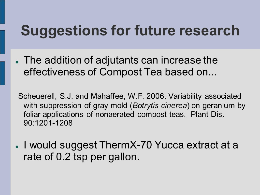 Suggestions for future research The addition of adjutants can increase the effectiveness of Compost Tea based on...