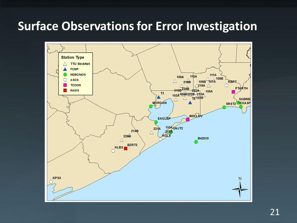 21 Surface Observations for Error Investigation