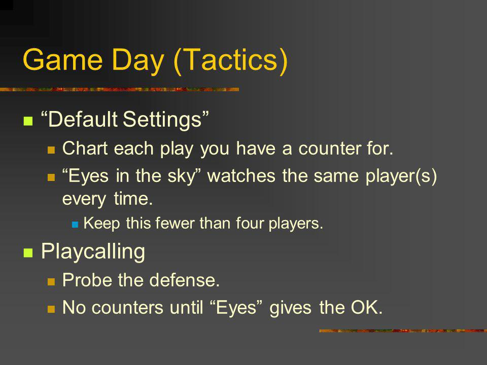 Game Day (Tactics) Default Settings Chart each play you have a counter for.