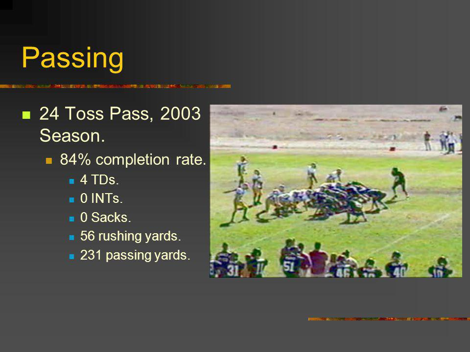Passing 24 Toss Pass, 2003 Season. 84% completion rate.