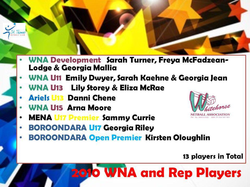 WNA Development Sarah Turner, Freya McFadzean- Lodge & Georgia Mallia WNA U11 Emily Dwyer, Sarah Kaehne & Georgia Jean WNA U13 Lily Storey & Eliza McR