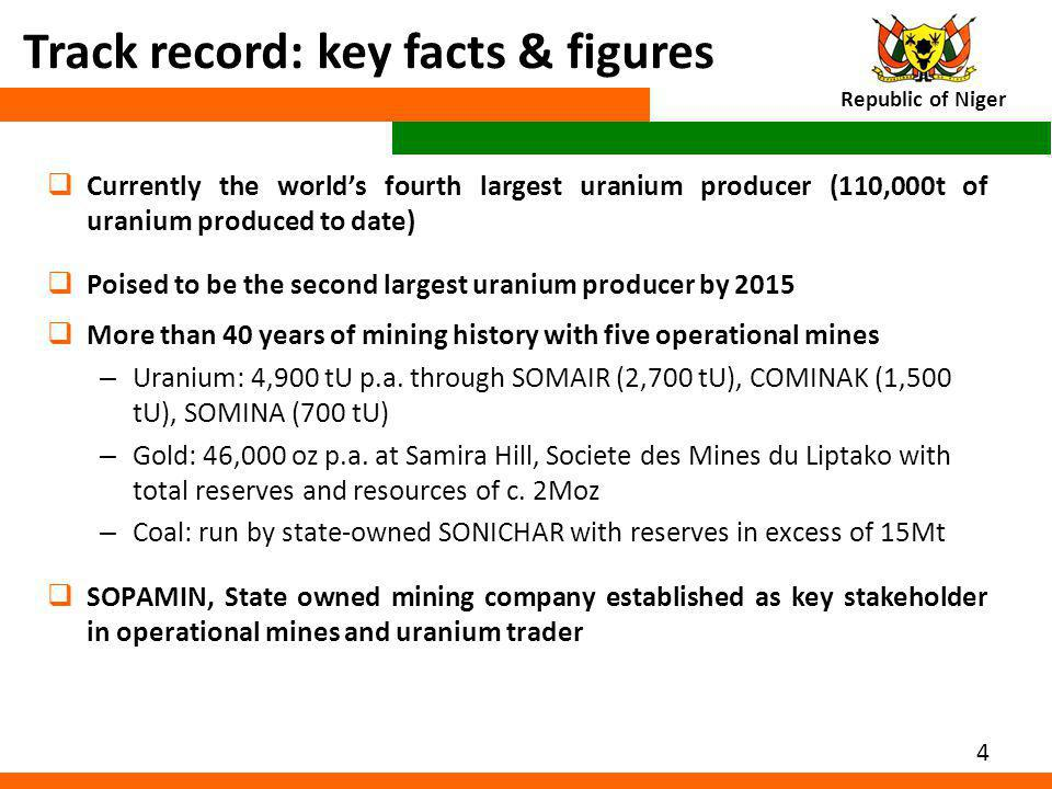 4 Track record: key facts & figures Currently the worlds fourth largest uranium producer (110,000t of uranium produced to date) Poised to be the secon