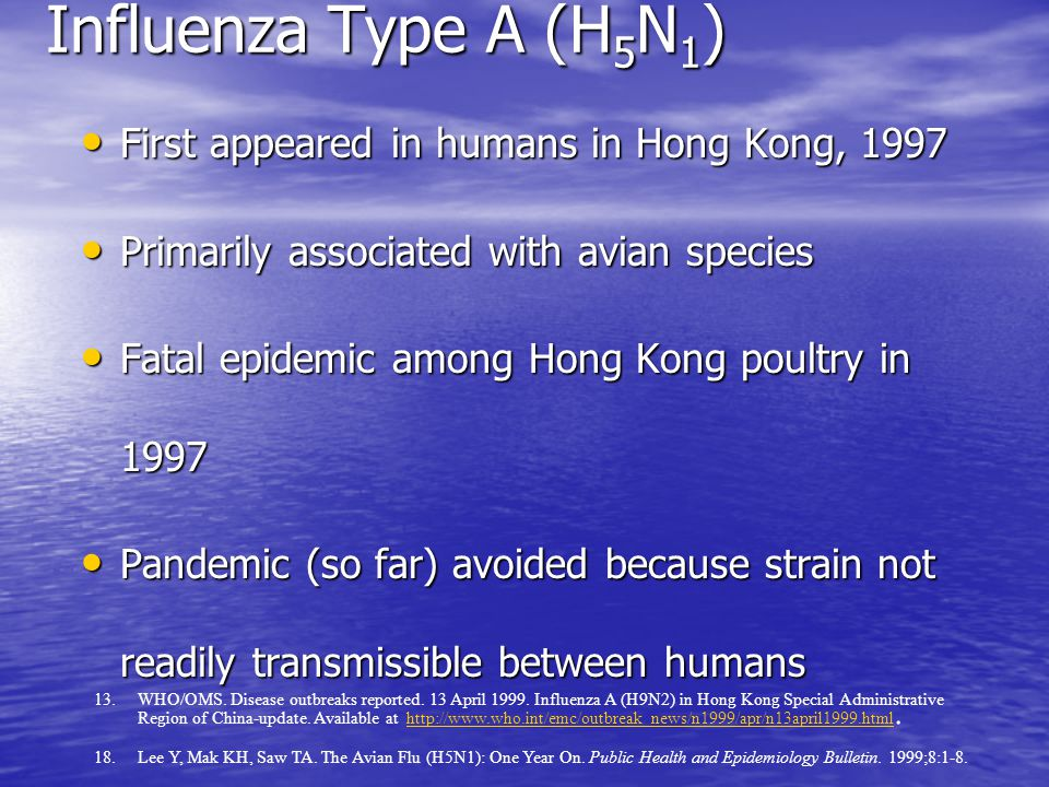 Influenza Type A (H 5 N 1 ) First appeared in humans in Hong Kong, 1997 First appeared in humans in Hong Kong, 1997 Primarily associated with avian species Primarily associated with avian species Fatal epidemic among Hong Kong poultry in 1997 Fatal epidemic among Hong Kong poultry in 1997 Pandemic (so far) avoided because strain not readily transmissible between humans Pandemic (so far) avoided because strain not readily transmissible between humans 13.