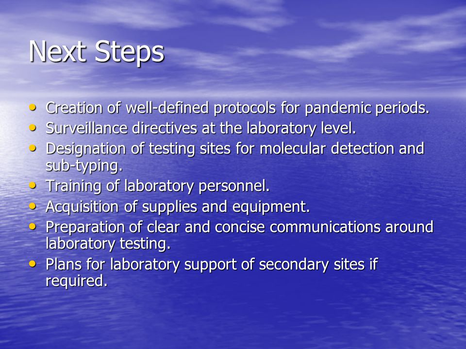 Next Steps Creation of well-defined protocols for pandemic periods.