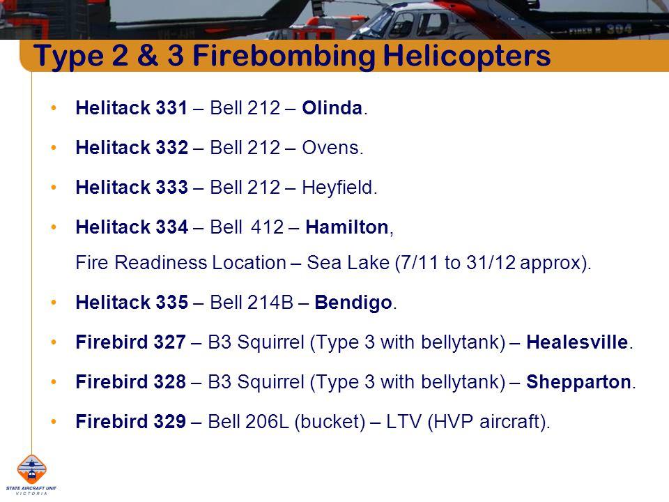 Type 2 & 3 Firebombing Helicopters Helitack 331 – Bell 212 – Olinda. Helitack 332 – Bell 212 – Ovens. Helitack 333 – Bell 212 – Heyfield. Helitack 334
