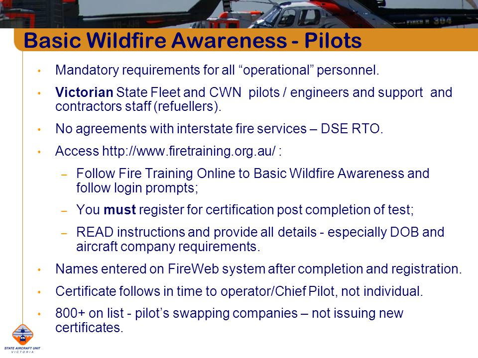 Mandatory requirements for all operational personnel.