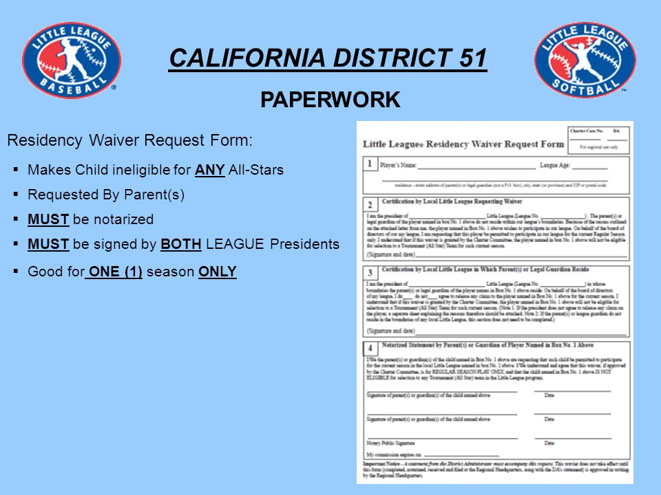 California District  League Requirements Unless Waivered In