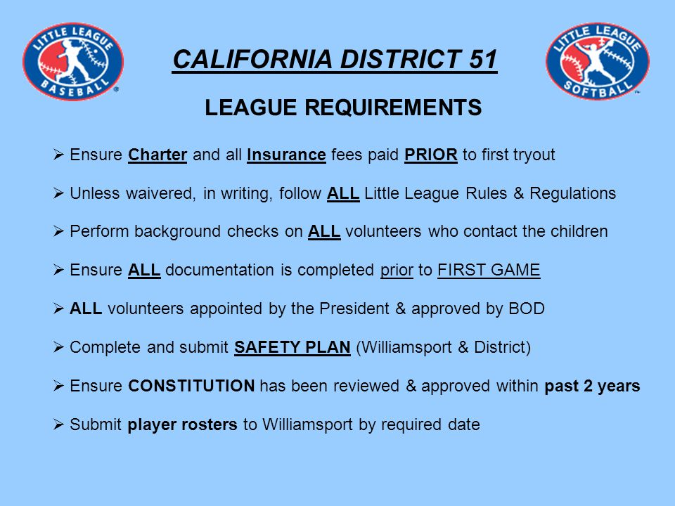 CALIFORNIA DISTRICT 51 PAPERWORK Residency Waiver Request Form: Requested By Parent(s) Makes Child ineligible for ANY All-Stars MUST be notarized MUST be signed by BOTH LEAGUE Presidents Good for ONE (1) season ONLY