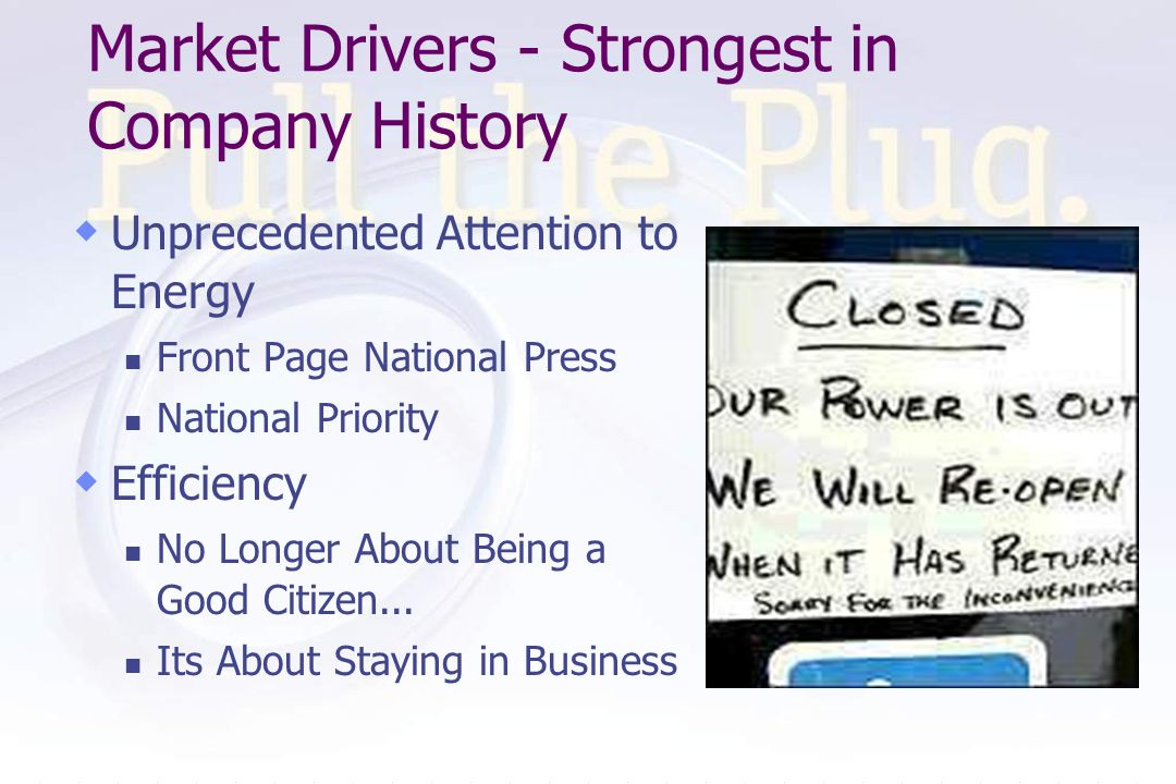 Market Drivers - Strongest in Company History Unprecedented Attention to Energy Front Page National Press National Priority Efficiency No Longer About Being a Good Citizen...