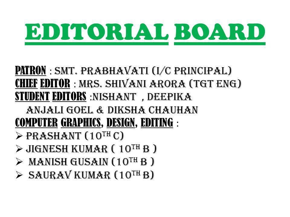 EDITORIAL BOARD PATRON : Smt.prabhavati (i/c PRINCIPAL) CHIEF EDITOR : Mrs.