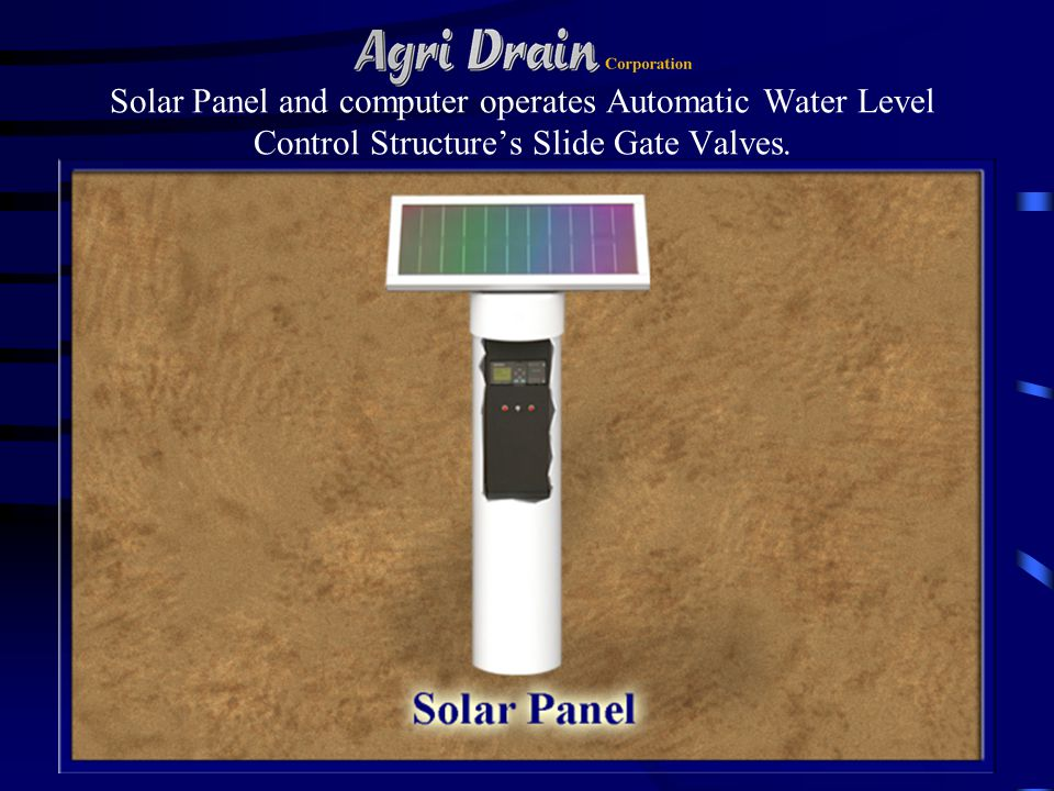 Solar Panel and computer operates Automatic Water Level Control Structures Slide Gate Valves.