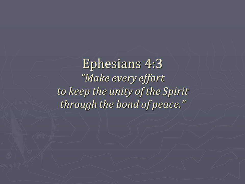 Ephesians 4:3 Make every effort to keep the unity of the Spirit through the bond of peace.