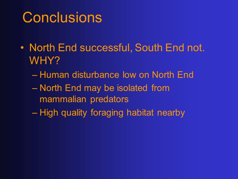 Conclusions North End successful, South End not. WHY.