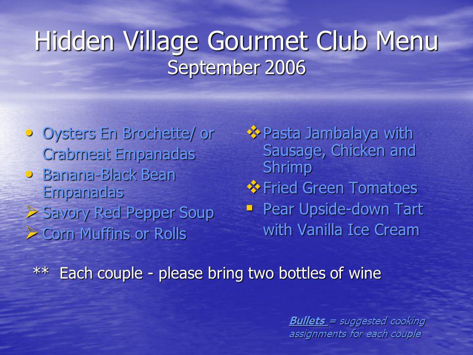Hidden Village Gourmet Club Menu September 2006 Oysters En Brochette/ or Oysters En Brochette/ or Crabmeat Empanadas Banana-Black Bean Empanadas Banana-Black Bean Empanadas Savory Red Pepper Soup Savory Red Pepper Soup Corn Muffins or Rolls Corn Muffins or Rolls Pasta Jambalaya with Sausage, Chicken and Shrimp Pasta Jambalaya with Sausage, Chicken and Shrimp Fried Green Tomatoes Fried Green Tomatoes Pear Upside-down Tart Pear Upside-down Tart with Vanilla Ice Cream ** Each couple - please bring two bottles of wine Bullets = suggested cooking assignments for each couple