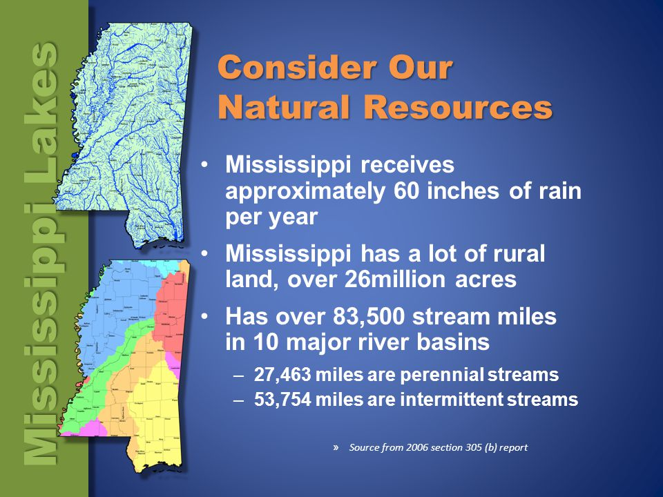 Consider Our Natural Resources Mississippi receives approximately 60 inches of rain per year Mississippi has a lot of rural land, over 26million acres Has over 83,500 stream miles in 10 major river basins –27,463 miles are perennial streams –53,754 miles are intermittent streams » Source from 2006 section 305 (b) report Mississippi Lakes