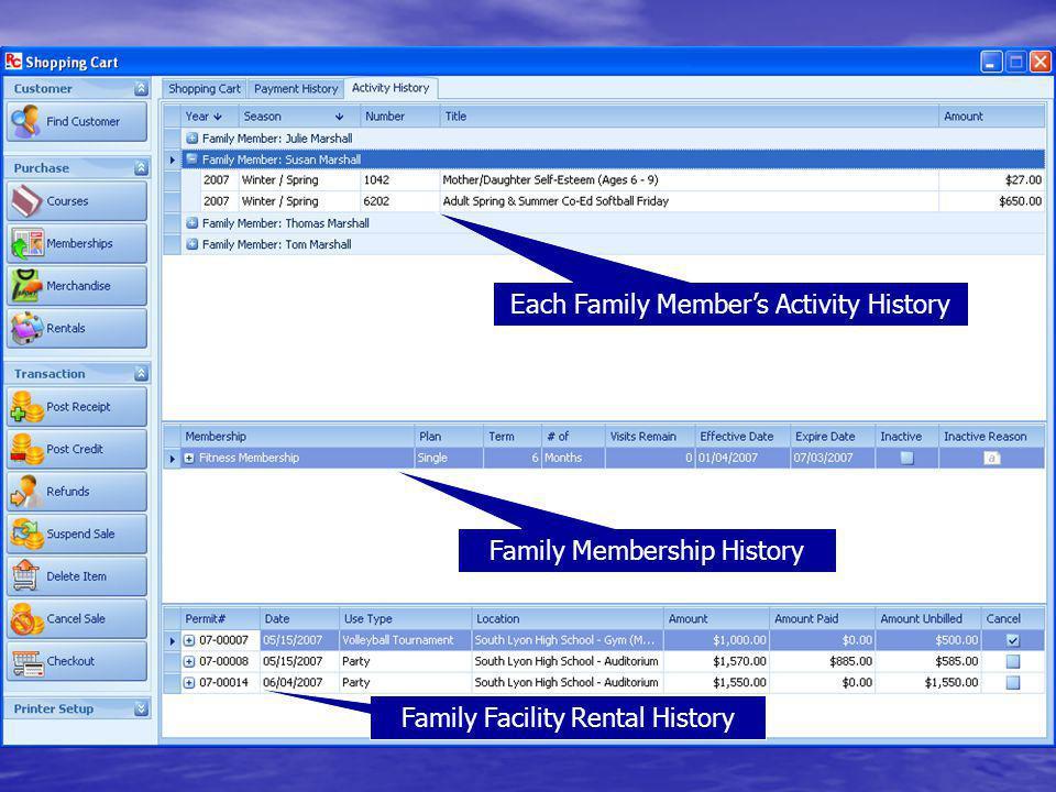 Each Family Members Activity History Family Membership History Family Facility Rental History