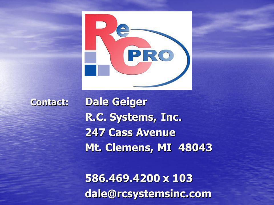 Contact: Dale Geiger R.C.Systems, Inc. 247 Cass Avenue Mt.