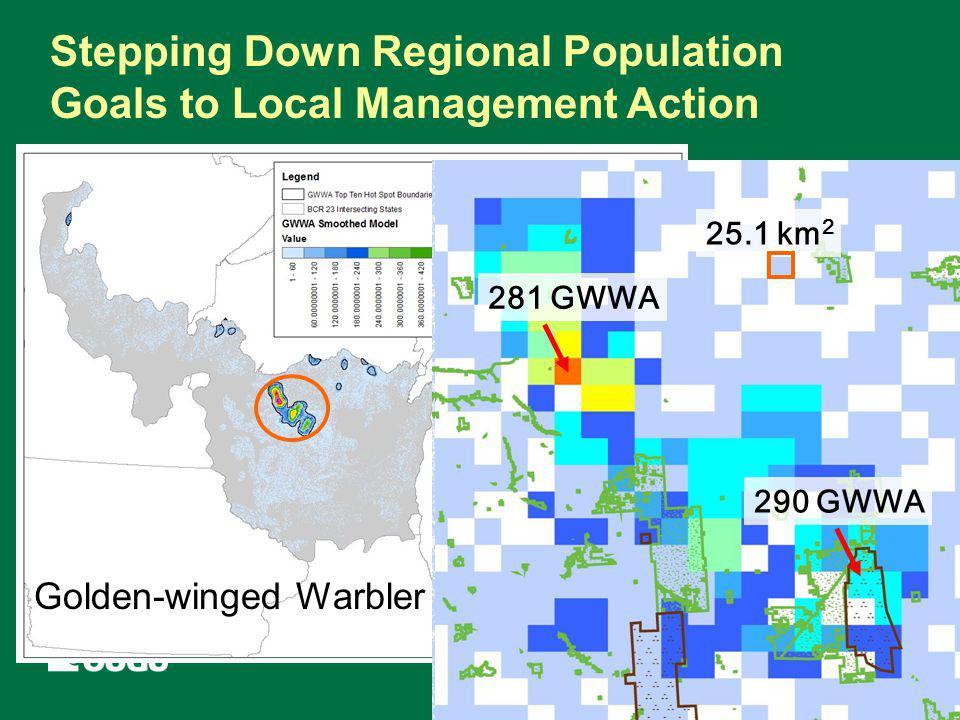 Stepping Down Regional Population Goals to Local Management Action 17,274 predicted GWWA 25.1 km 2 281 GWWA 290 GWWA Golden-winged Warbler