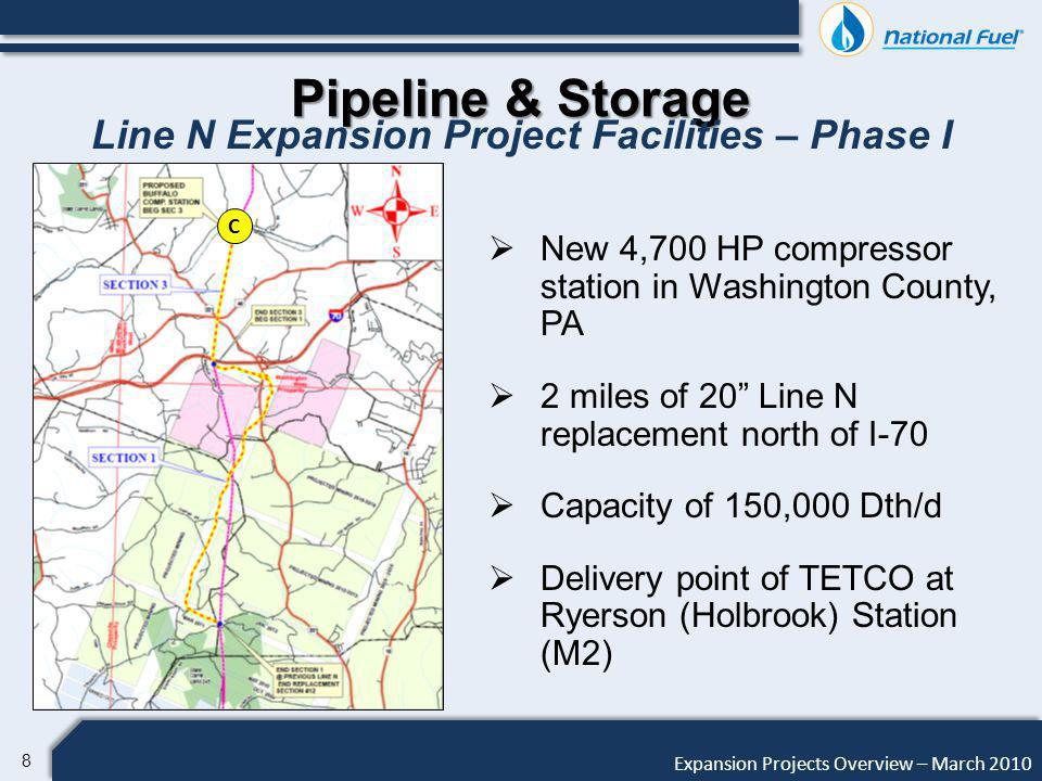 19 Expansion Projects Overview – March 2010 Pipeline & Storage West to East Phase I & II Project Description Facilities Phase I: 39 Miles of 24 1,440 psig pipeline 4,000 to 7,000 HP @ Station in Moshannon State Forest Interconnections at Leidy Proposed Compressor Station Site Possible Compressor Station Sites NFGSC WEST to EAST (PHASE II) NFGSC WEST to EAST (PHASE I) NORTHERN SOUTHERN ALTERNATE ALTERNATE Facilities Phase II: 43 Miles of 24 1,440 psig pipeline 18,000 to 21,000 HP @ Station at Heath Station Interconnections at Leidy Minimum combined capacity of 425,000 Dth/d Delivery points of Transco, TETCO, and DTI @ Leidy Estimated combined cost of $260 million