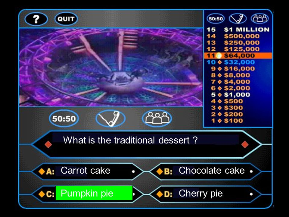What is the traditional dessert ? Carrot cakeChocolate cake Pumpkin pieCherry pie