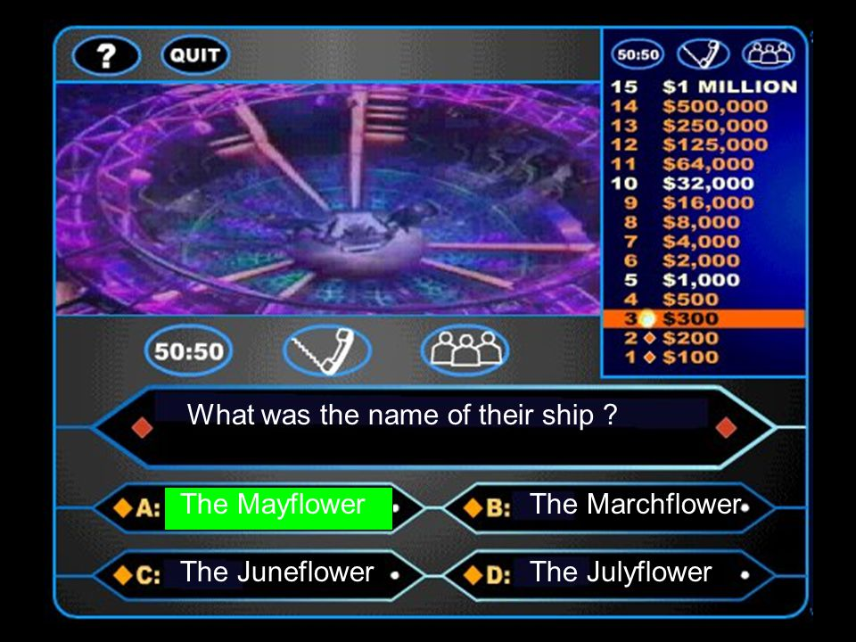What was the name of their ship ? The MayflowerThe Marchflower The JuneflowerThe Julyflower