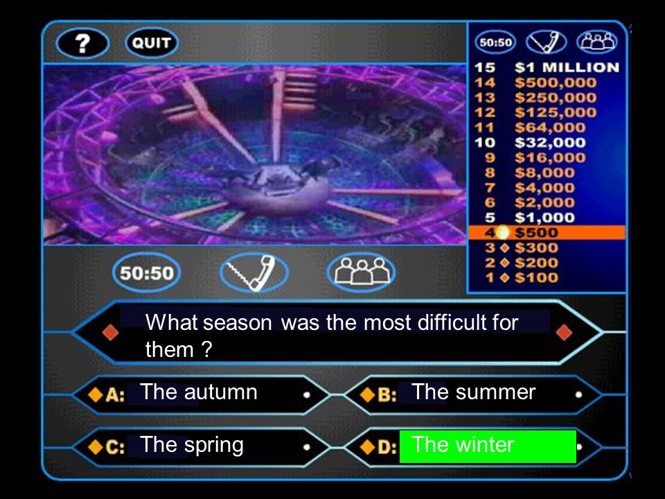 What season was the most difficult for them ? The autumnThe summer The springThe winter
