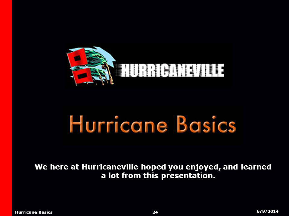 6/9/2014 23 Hurricane Basics CREDITS Hurricaneville Gregs Weather Center Hurricane City The Weather Channel The National Hurricane Center Rutgers Meteorology Department World Book Encyclopedia Essentials of Meteorology: An Invitation To The Atmosphere.