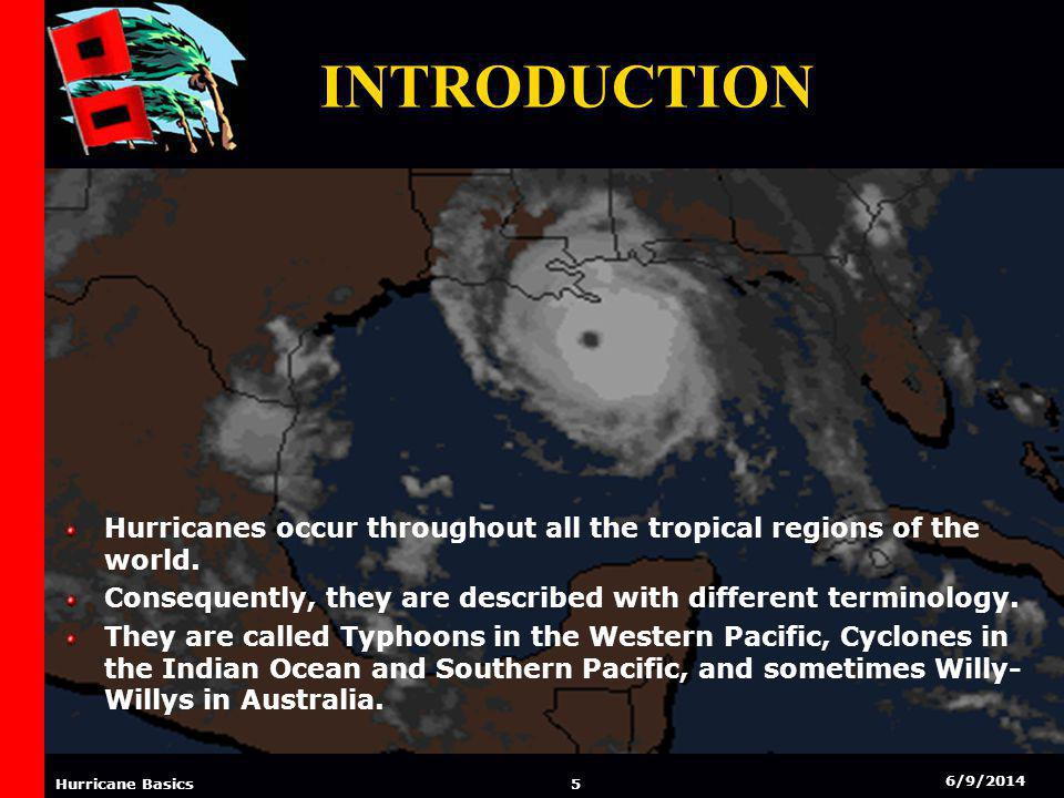 6/9/2014 4 Hurricane Basics INTRODUCTION Hurricanes are among the most fiercest forces on earth. They are a vast mass of clouds that form in the tropi