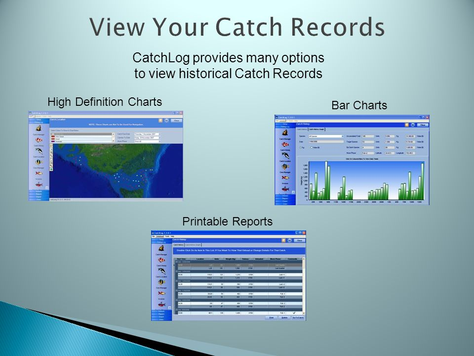 View Your Catch Records CatchLog provides many options to view historical Catch Records High Definition Charts Bar Charts Printable Reports