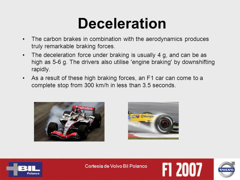 Cortesía de Volvo Bil Polanco Deceleration The carbon brakes in combination with the aerodynamics produces truly remarkable braking forces. The decele