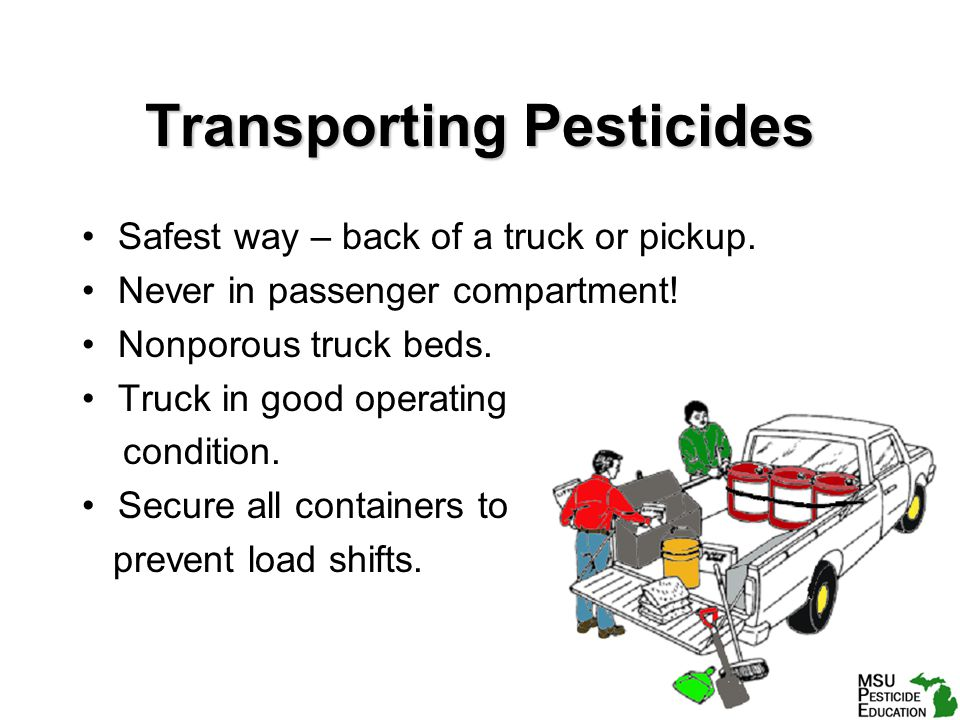 Transporting Pesticides Safest way – back of a truck or pickup.