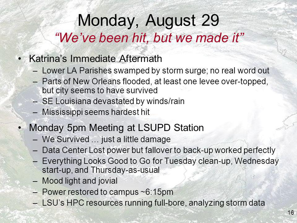 16 Monday, August 29 Weve been hit, but we made it Katrinas Immediate Aftermath –Lower LA Parishes swamped by storm surge; no real word out –Parts of New Orleans flooded, at least one levee over-topped, but city seems to have survived –SE Louisiana devastated by winds/rain –Mississippi seems hardest hit Monday 5pm Meeting at LSUPD Station –We Survived … just a little damage –Data Center Lost power but fallover to back-up worked perfectly –Everything Looks Good to Go for Tuesday clean-up, Wednesday start-up, and Thursday-as-usual –Mood light and jovial –Power restored to campus ~6:15pm –LSUs HPC resources running full-bore, analyzing storm data