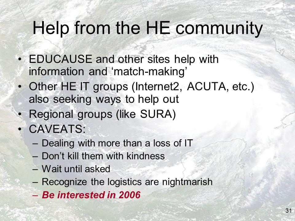 31 Help from the HE community EDUCAUSE and other sites help with information and match-making Other HE IT groups (Internet2, ACUTA, etc.) also seeking ways to help out Regional groups (like SURA) CAVEATS: –Dealing with more than a loss of IT –Dont kill them with kindness –Wait until asked –Recognize the logistics are nightmarish –Be interested in 2006