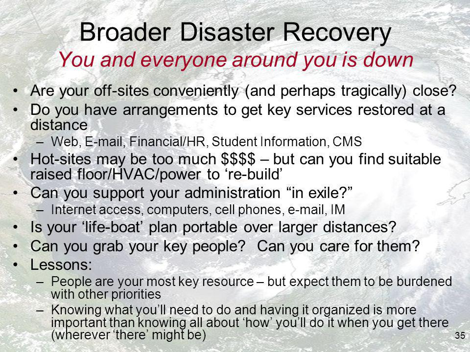 35 Broader Disaster Recovery You and everyone around you is down Are your off-sites conveniently (and perhaps tragically) close.