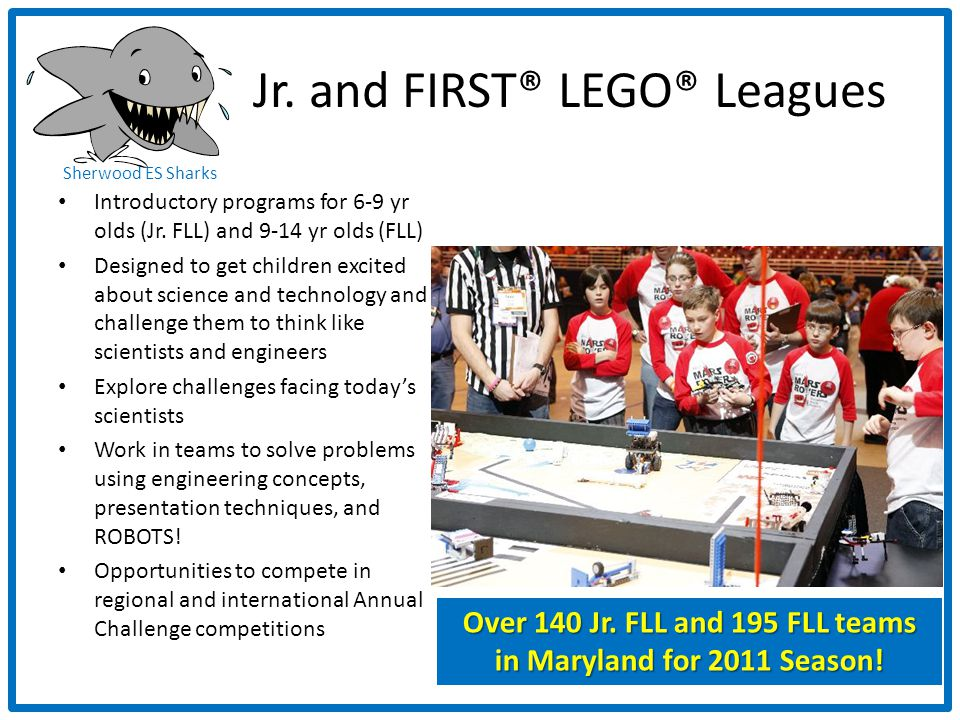 Sherwood ES Sharks Jr. and FIRST® LEGO® Leagues Introductory programs for 6-9 yr olds (Jr.